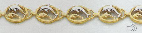 "14kt Two Tone Gold 7"" Dolphin Bracelet - FB904-7 . $574.13"