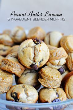 The easiest ever Peanut Butter Banana 5 ingredient muffins using a blender.  Delicious too! www.thirtyhandmadedays.com