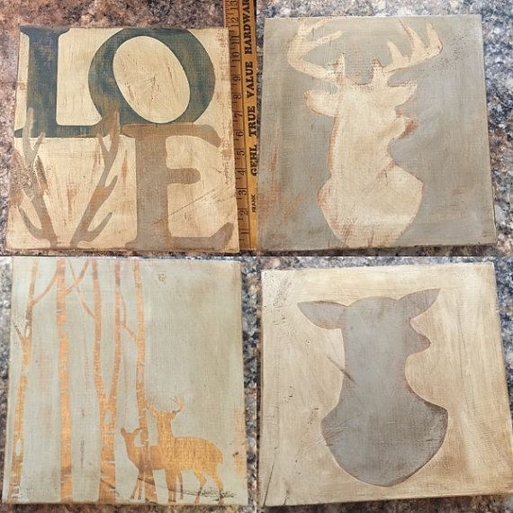 Set of 4 Hand Painted Distressed Deer Wooden Signs Approx size 11 1/4x11 3/4 The backs are unfinished and come ready to hang with a sawtooth hanger.