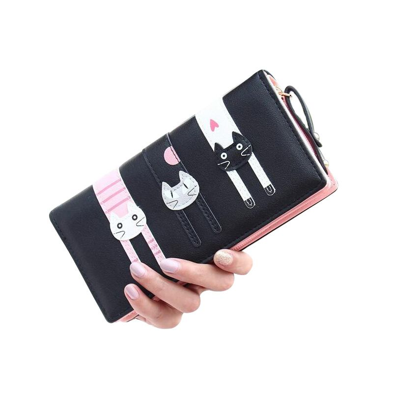 1acd8dda952 New fashion cat wallet women zipper long wallet brand female purse large  capacity women clutch coin purse-in Wallets from Luggage   Bags on  Aliexpress.com ...