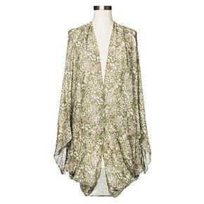 Women's Floral Cocoon Kimono Jacket Green - Merona™