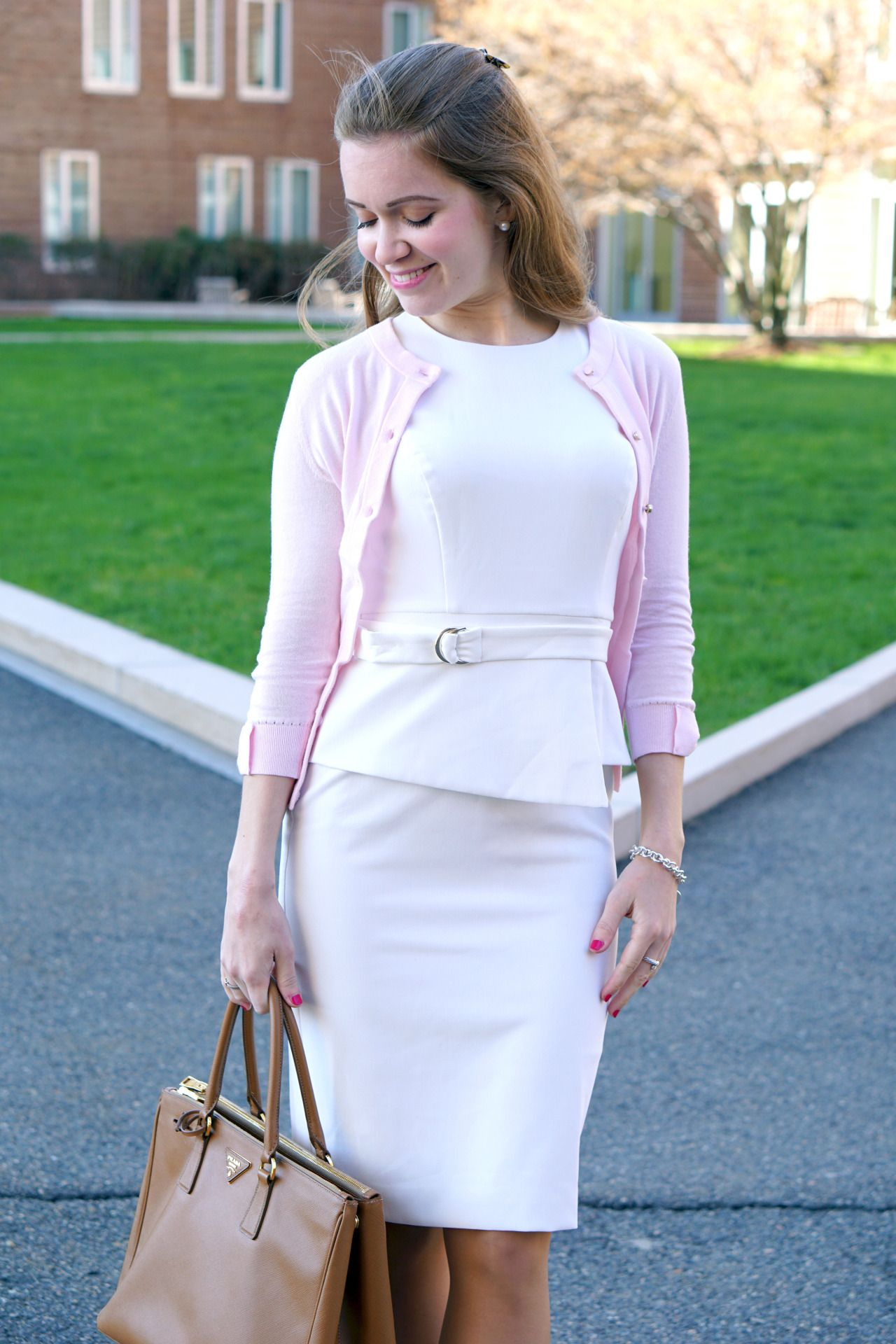 White belted peplum dress with pink cardigan | Pink cardigan ...
