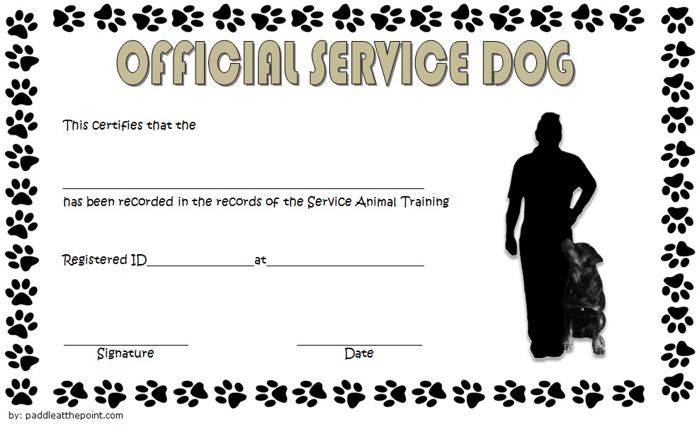 Official Service Dog Training Certificate Template FREE 1