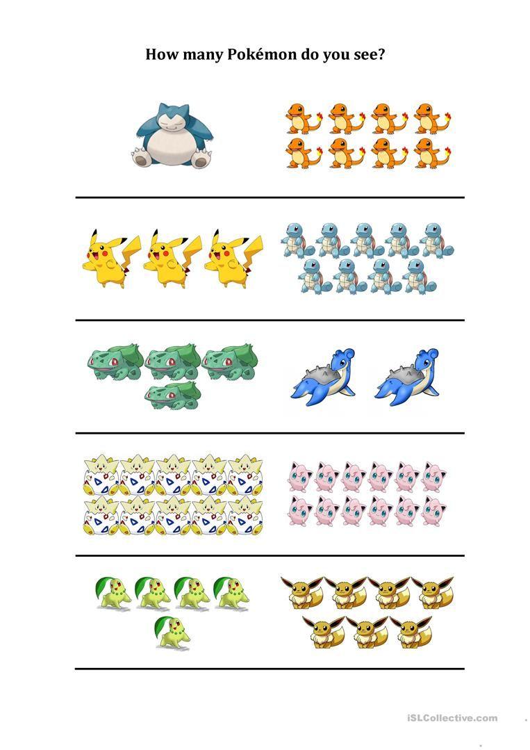 How Many Pokemon Do You See Worksheet Free Esl Printable Worksheets Made By Teachers Pokemon Learning Worksheets Kindergarten Worksheets [ 1079 x 763 Pixel ]