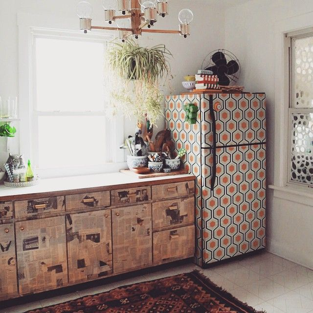 I Wallpapered the Fridge Kitchens, Flats and Fridge