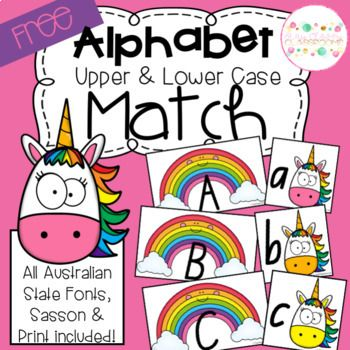 Upper Lower Case Letter Match Rainbow Unicorns Lowercase A