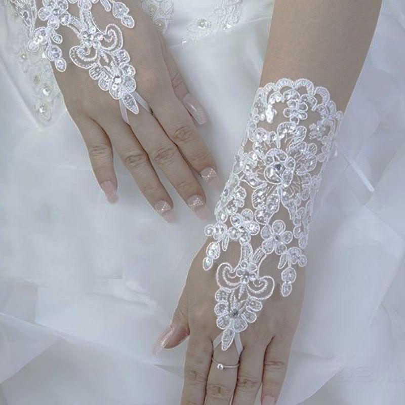 White//Ivory Crystal Wedding Bridal Glove Accessory Beaded Lace fingerless'gloves