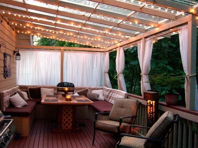 Interesting Deck Curtains At Patio Overhang And String Patio Lighting With Patio  Cover Ideas Also Outdoor Seat Cushions And Patio Furniture With Deck ...
