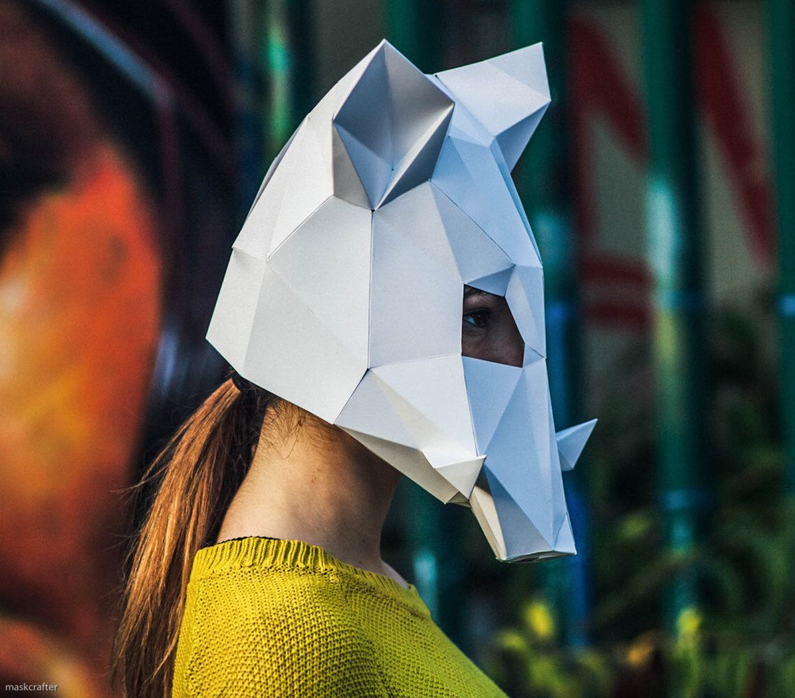 Paper Boar Mask, Papercraft Template, Party Mask, DIY Instant Download door Paperpetshop op Etsy https://www.etsy.com/nl/listing/482427489/paper-boar-mask-papercraft-template