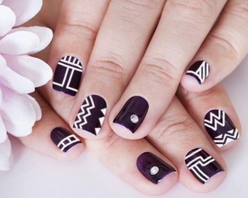 Purple with White Tribal Nail Art Design - 12 Awesome Tribal Nail Art Design Ideas Amazing Nails And Art Nails