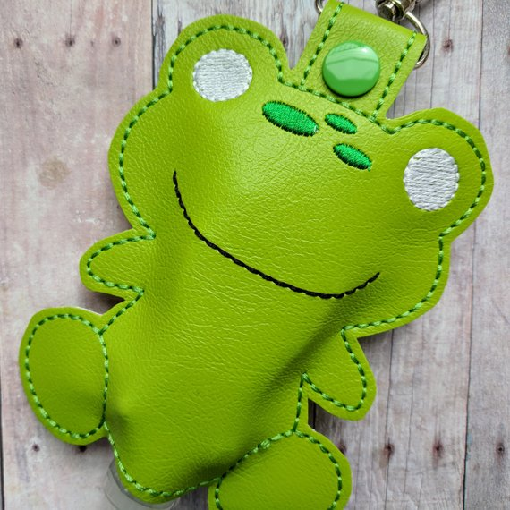 Frog Hand Sanitizer Holder Green Embroidered Vinyl With Snap