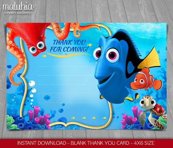 Finding Dory Thank You Card Instant Download Finding
