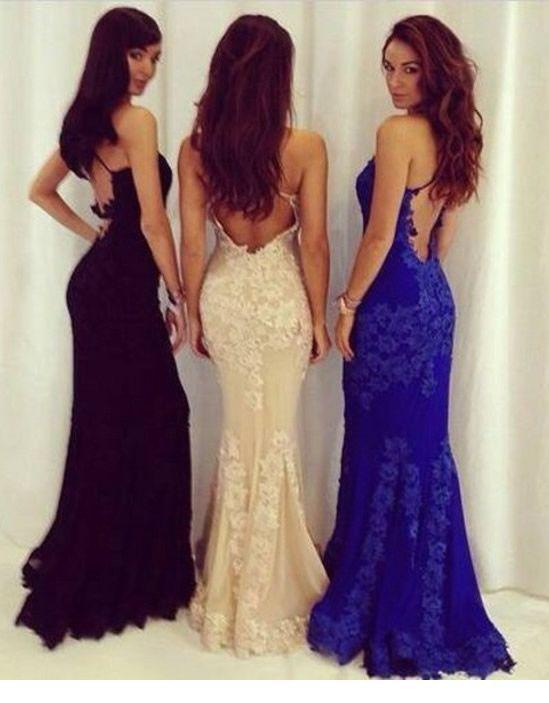 Sexy Open Back Royal Blue Lace Prom Dress Sheath Mermaid Formal ...