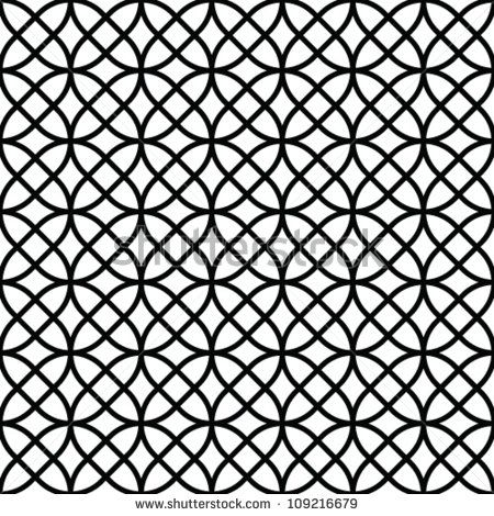 Abstract geometric seamless pattern. Black and white style ...