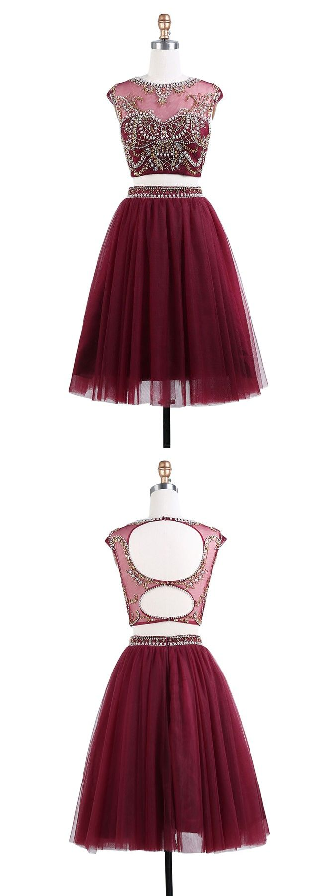 Two piece crew kneelength cap sleeves open back burgundy tulle