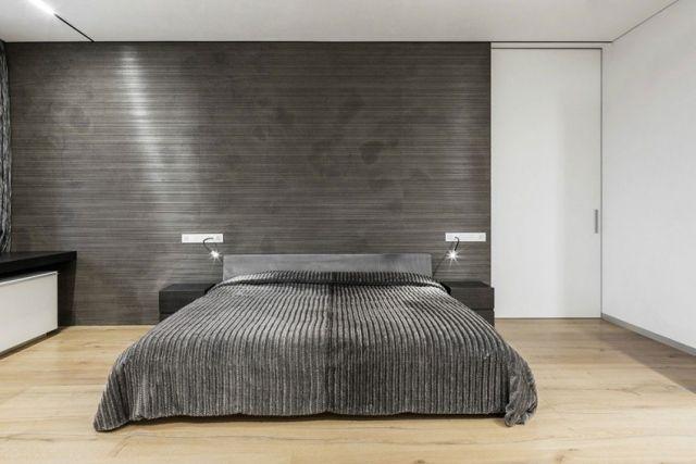 Laminat Schlafzimmer ~ Schlafzimmer modern minimalistisch weiß dunkelgrau heller