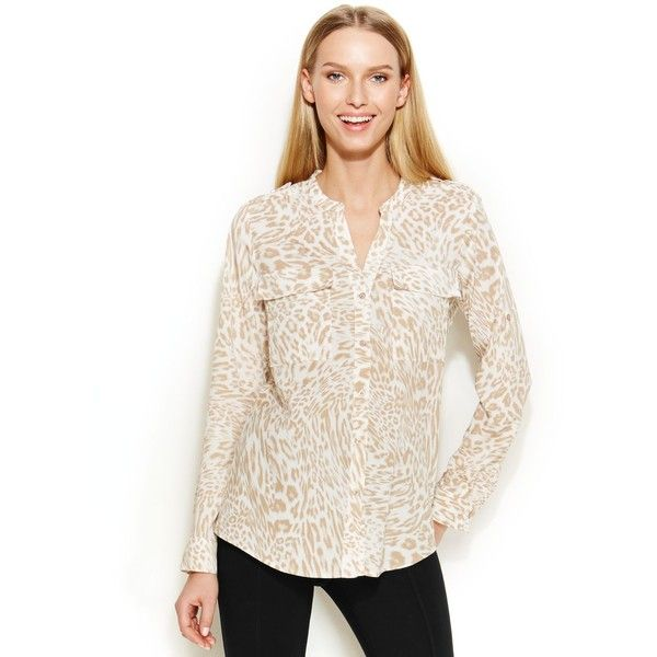 Calvin Klein Roll-Tab-Sleeve Leopard-Print Blouse ($35) ❤ liked on Polyvore