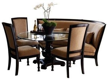Curved Dining Settee Pretty Fabulous Round Dining Table W 3 Chairs Banquet Settee Shel Luxury Dining Room Dining Room Sets Dining Room Banquette