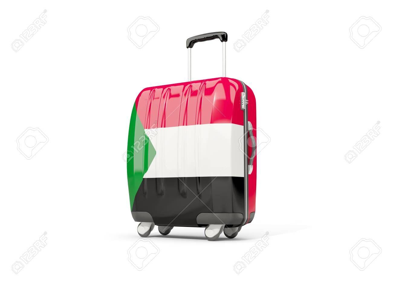Equipaje con la bandera de Sudán.