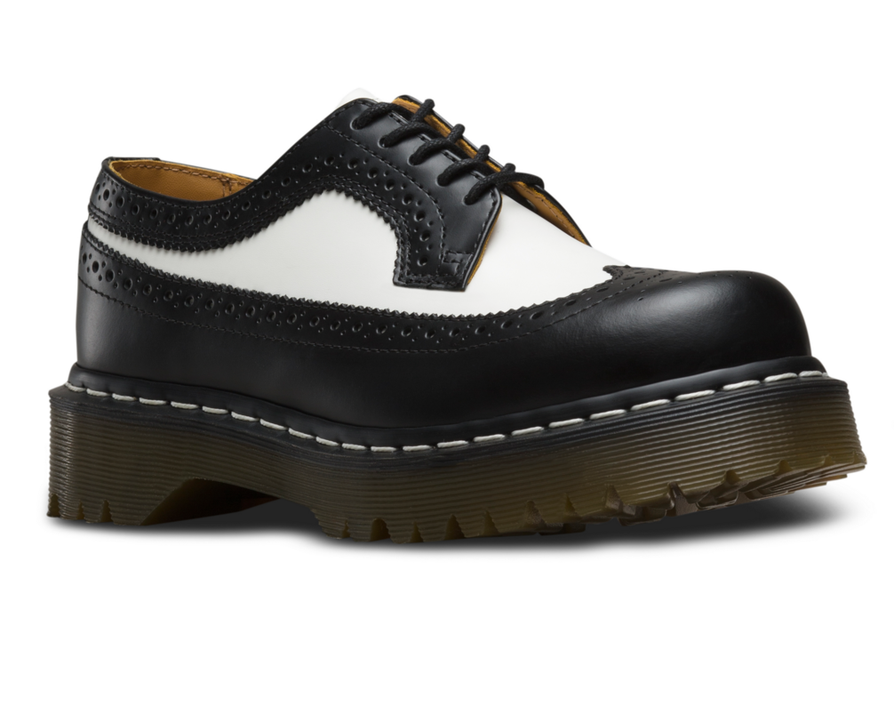 Martens Unisex 3989 5 Eye Brogue Bex Sole, Size: 3 M, Black/White Smooth  Leather