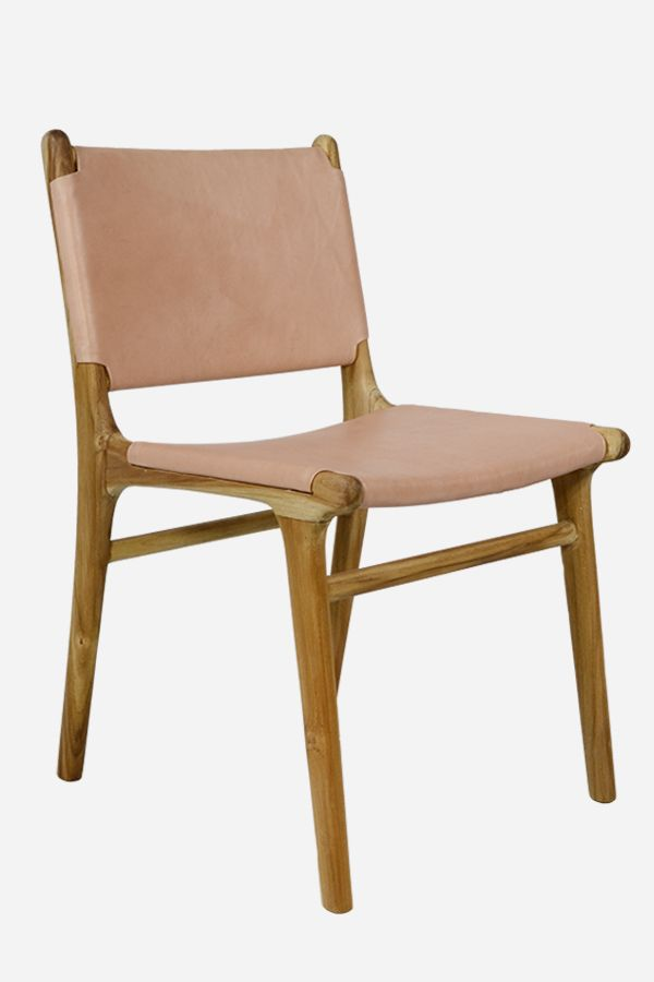 Leather Dining Chair Flat Teak Natural Leather Dining