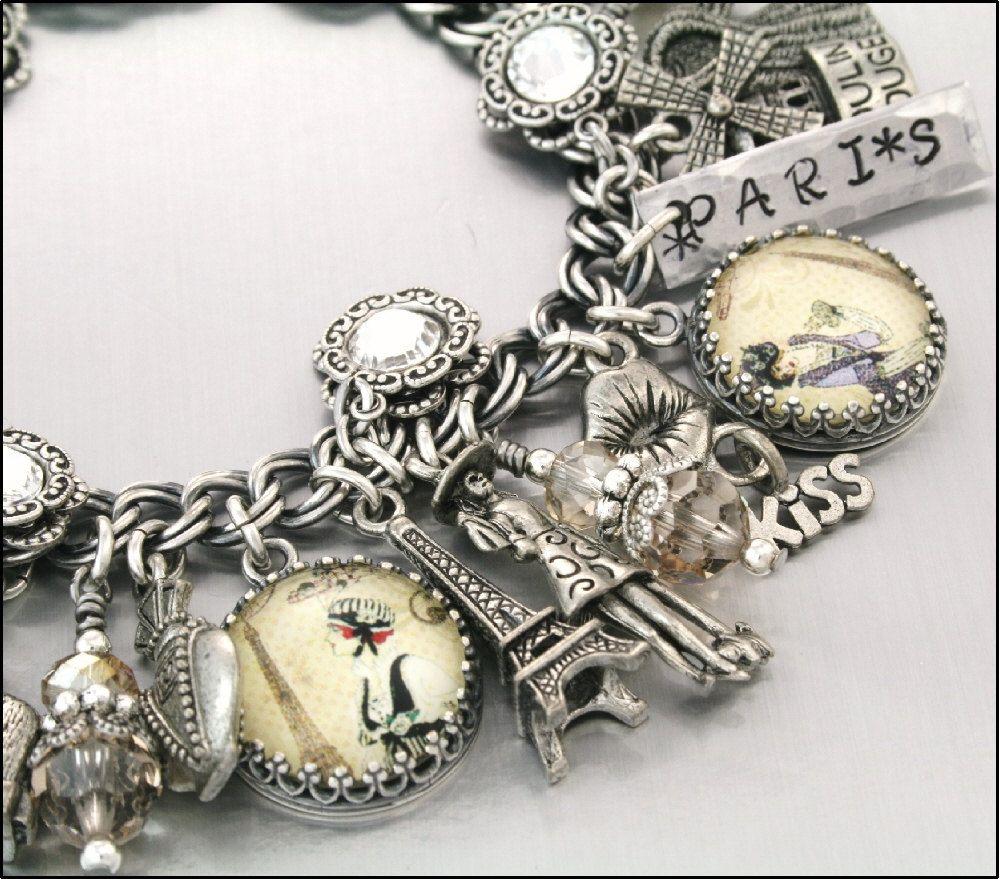 Silver Charm Bracelet Paris Jewelry Bracelets