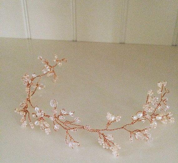 Rose Gold Swarovski Crystal and freshwater pearl hair vine. More