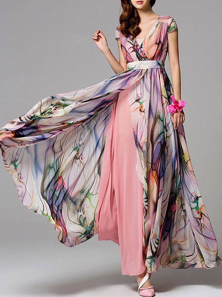 Usd 102 00 Printed Chiffon Maxi Dress Sommarklanning Klanningar Kladstilar [ 1200 x 900 Pixel ]
