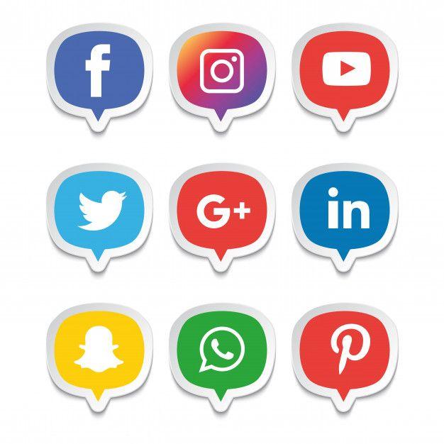 Social Media Icons Set. Logo Illustrator. Facebook