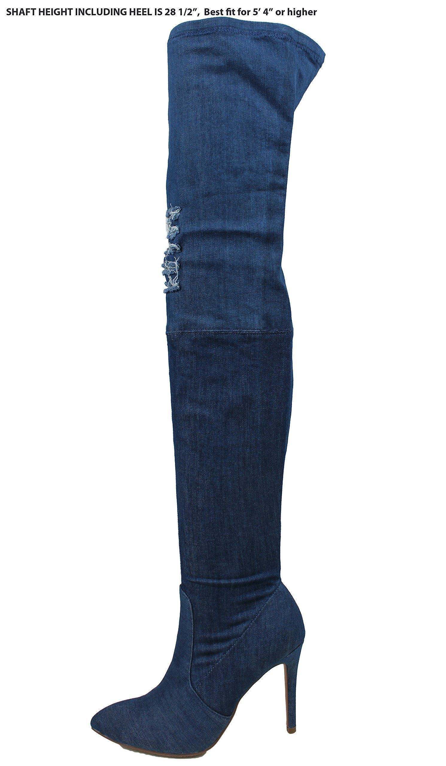 Delicious Damenschuhe Knee Stretch Denim Ripped Jean Thigh High Over Knee Damenschuhe ... b4b0f4