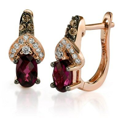 Gorgeous Le Vian Raspberry Rhodolite Garnet Earrings With