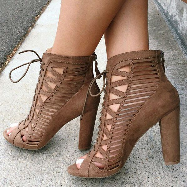 Lace Up Caged Bootie Heels