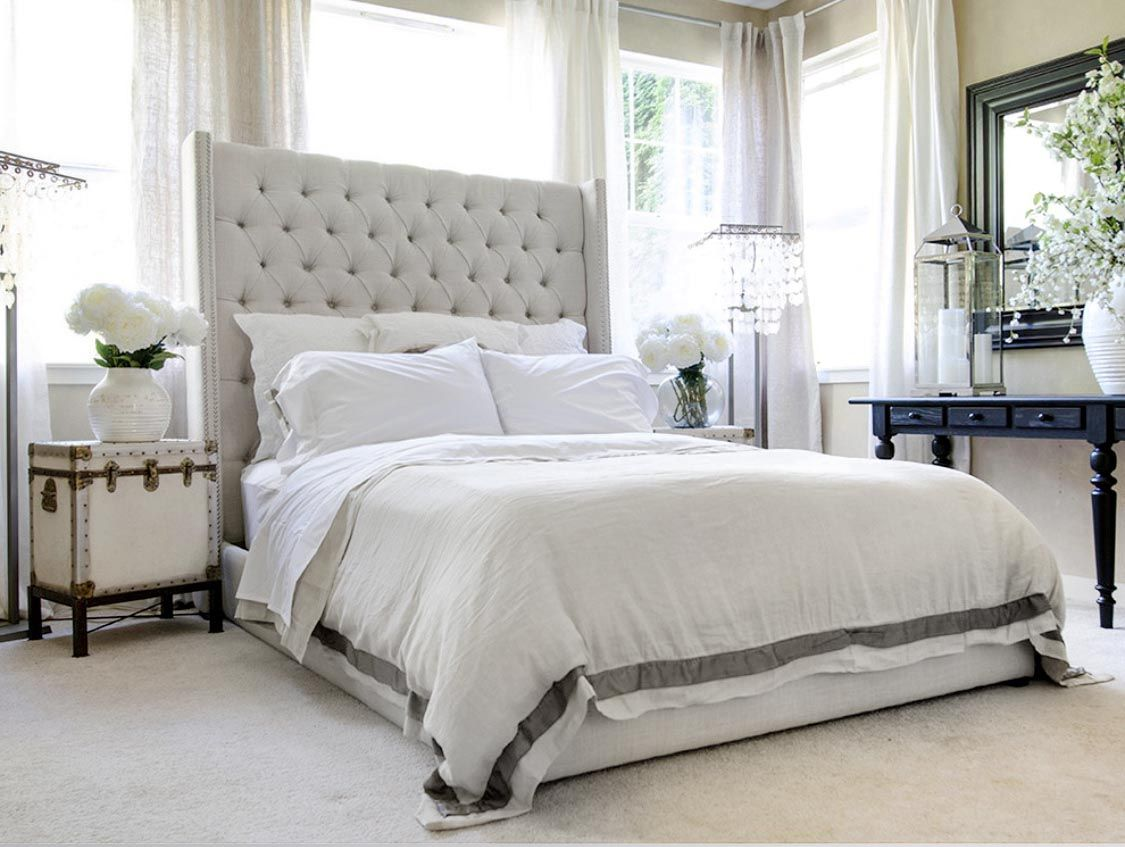 Cozy Bright White Bedroom Decor With Restoration Hardware Inspired Tall Headboard Bed White Lin White Bedroom Decor Queen Upholstered Headboard White Headboard Tall headboard bedroom ideas