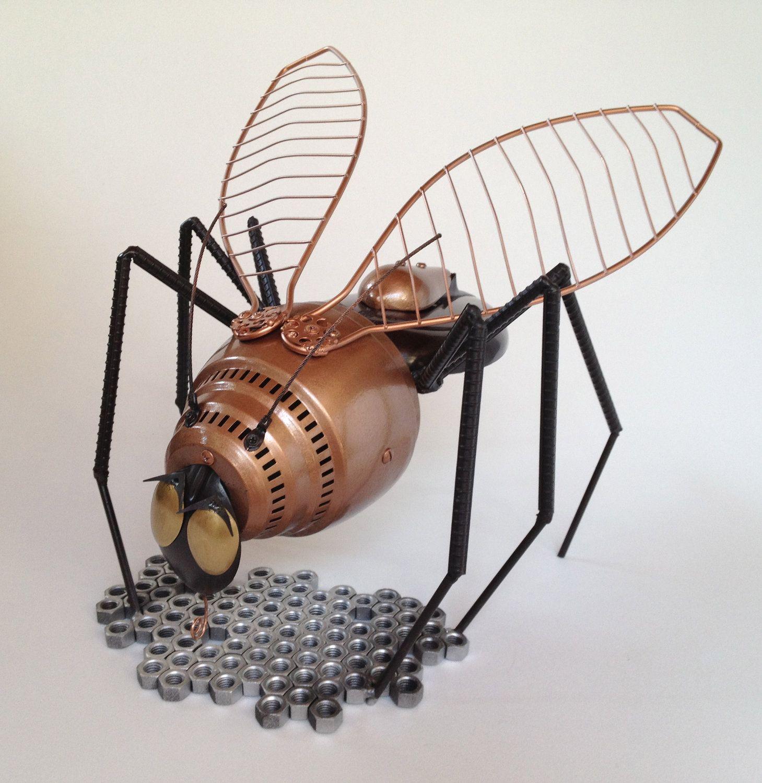 upcycled metal yard art sculpture betina bee 32500