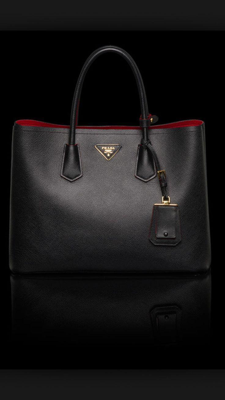 edee4d047e9f5 Prada Saffiano Cuir Double Bag in Black Diese und weitere Taschen auf  www.designertaschen-shops.de entdecken