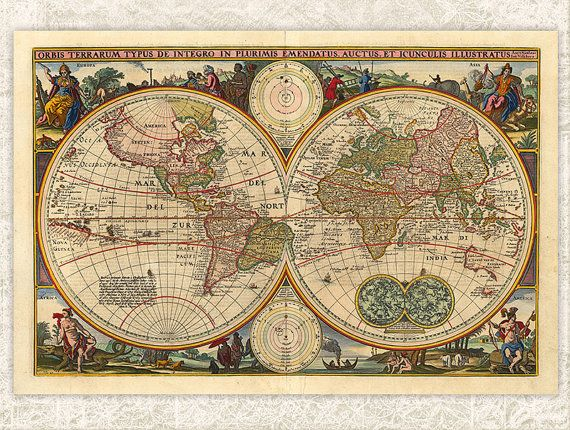Digital Antique Map Printable INSTANT DOWNLOAD by DIYVintageArt - new antique world map images