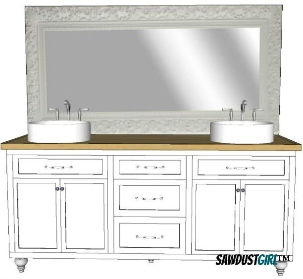 Double Vanity With Center Drawers - Free Plans
