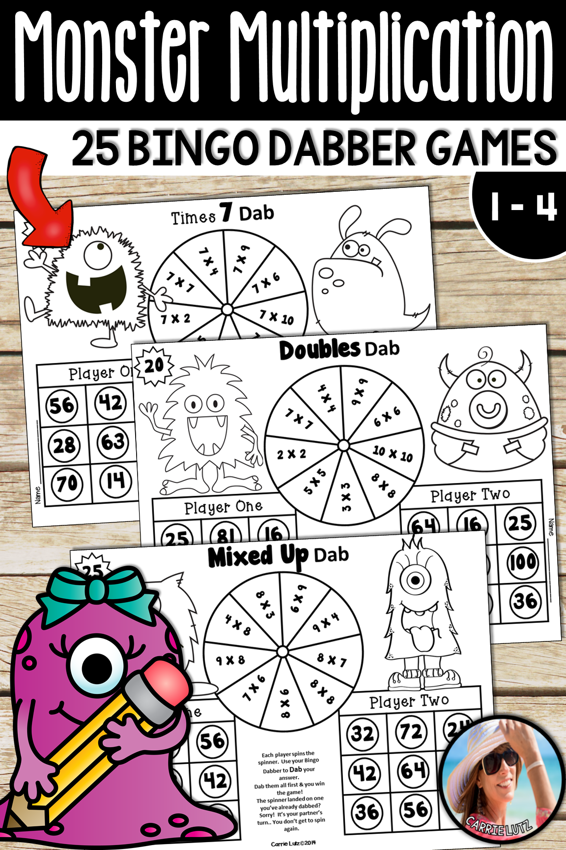 Monster Multiplication Games 25 Print And Play Bingo Dabber Games To 10 X 10
