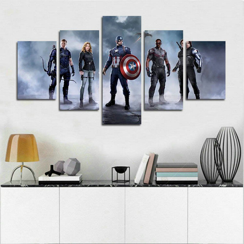 geschenk fur marvel fans dieses 5 teilige avengers leinwandbild ist definitiv ein blickfang an jeder wand o moderne deko kunstdrucke auf leinwand wandschmuck foto 80x80 panorama 120x40