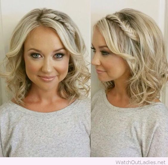 Short Curly Hair With A Soft Braid Detail Square Face Hairstyles Cool Hairstyles Short Hair Styles