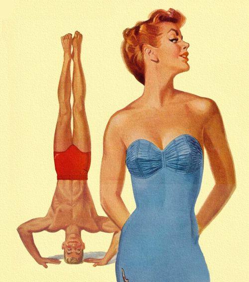 Seeking Attention - Jantzen Swimsuits 1950 - art by Pete Hawley ...