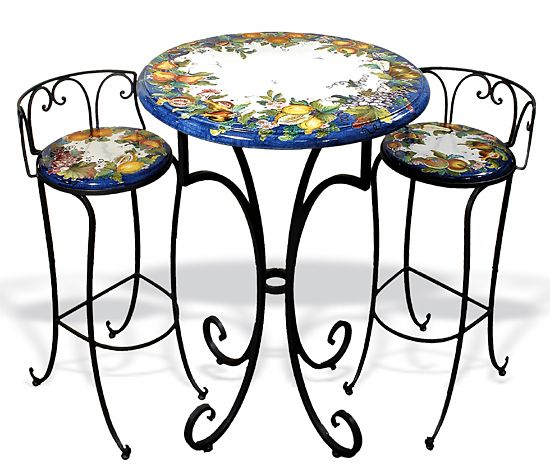 Intrada Italy Ceramic Bistro Table With Iron Base Bistro Table Decor Outdoor Patio Decor
