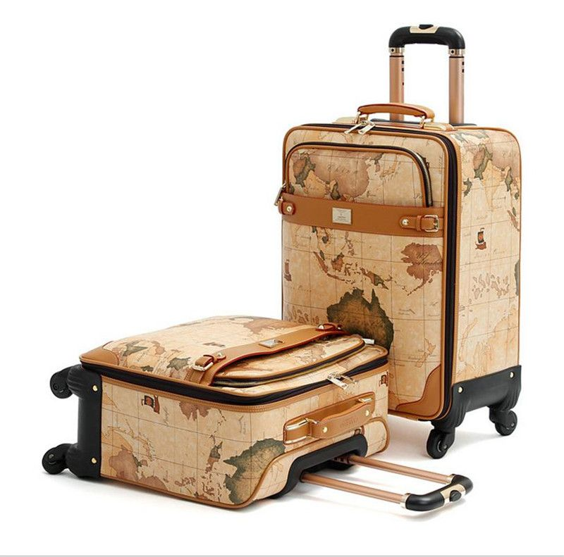 1pc 16 18 20 inch map printing suitcase on wheels leather travel shipping suitcases on sale at reasonable prices buy 16 18 20 inch map printing suitcase on wheels leather travel bag trolley board chassis world map gumiabroncs Images