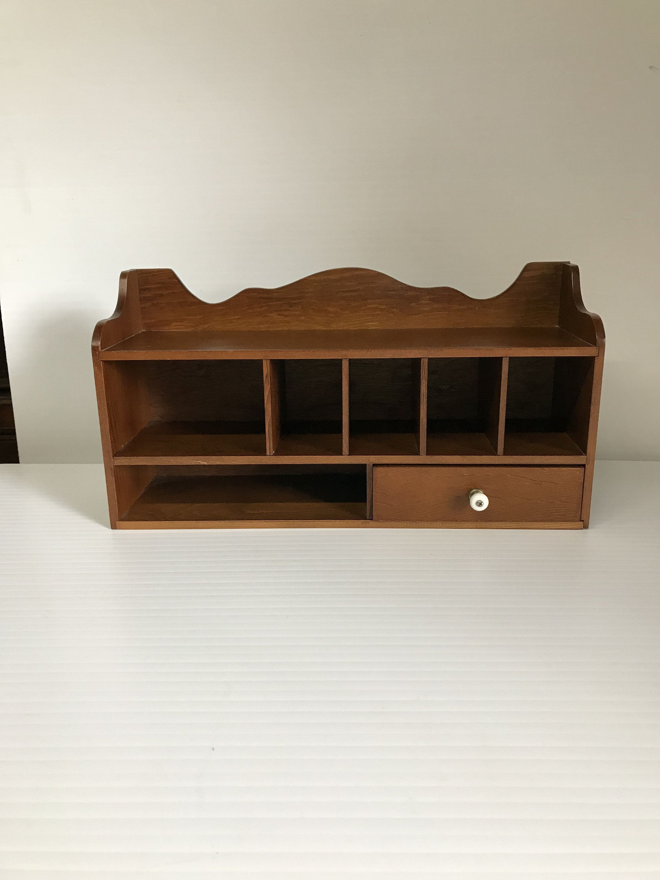 Vintage Desk Cubby Wood Wall Mount Top Organizer Post Office Slot