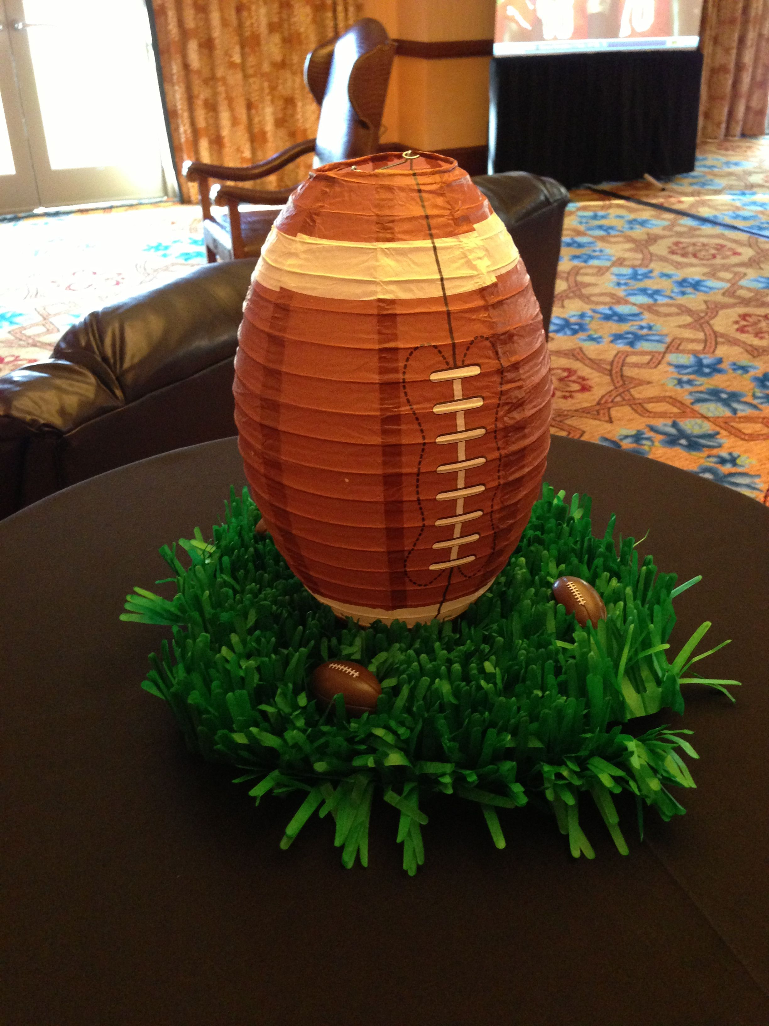 A simple football themed centerpiece for napeo table