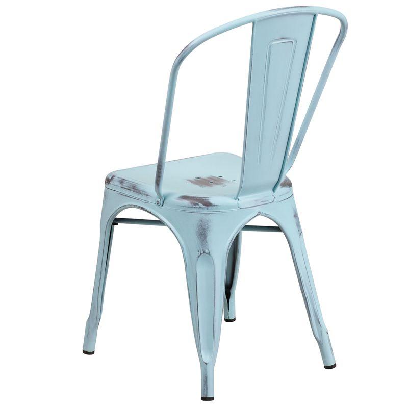 Distressed Gn Blue Metal Chair Et 3534 Db Gg Metal