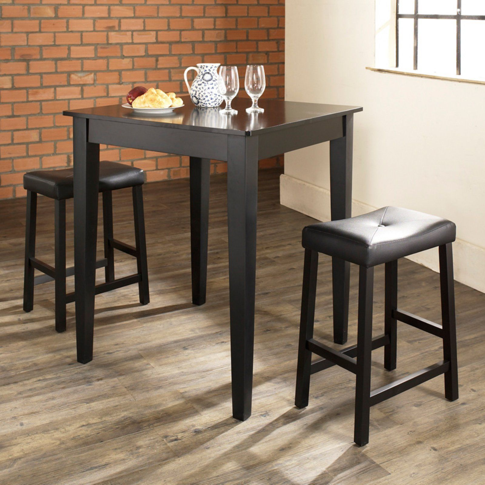 Crosley 3 Piece Pub Dining Set With Tapered Leg And Upholstered