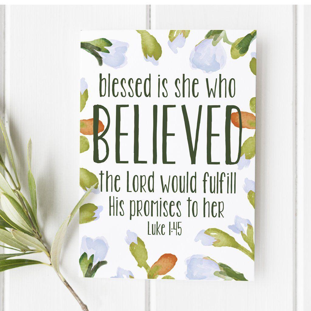 Bible Verse Print Luke 1:45 Bible Verse Wall Art A4 Scripture Art A5