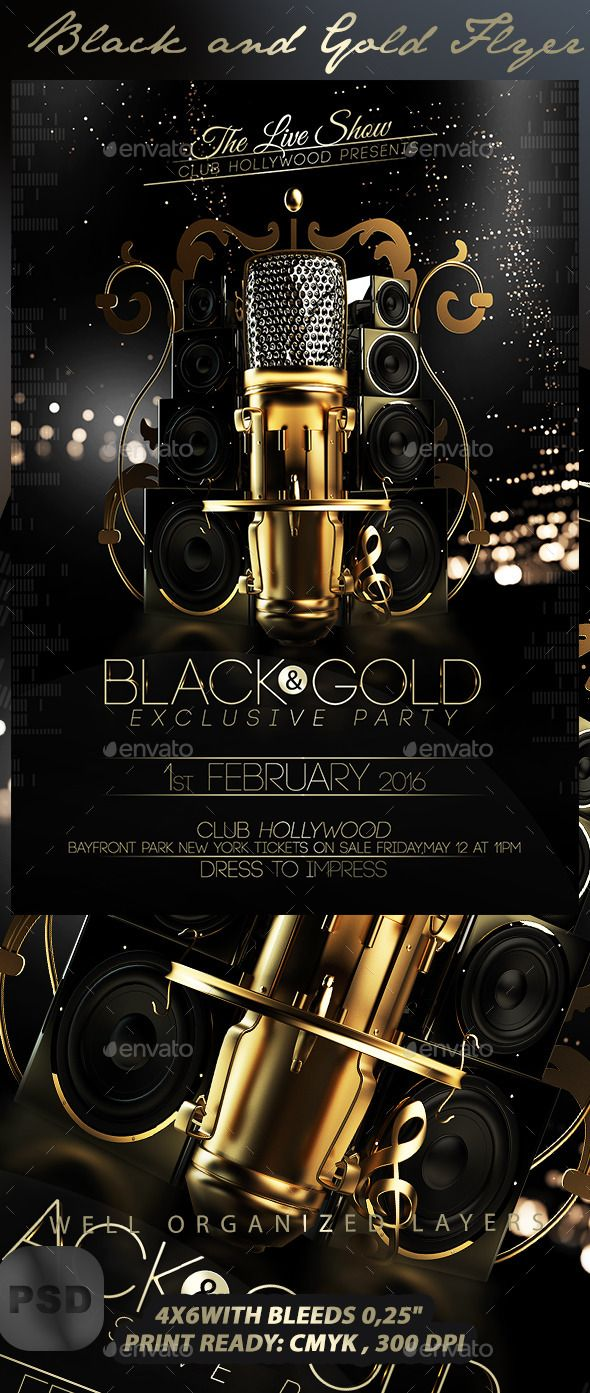 Black And Gold Flyer Template  Flyer Template Template And Font Logo