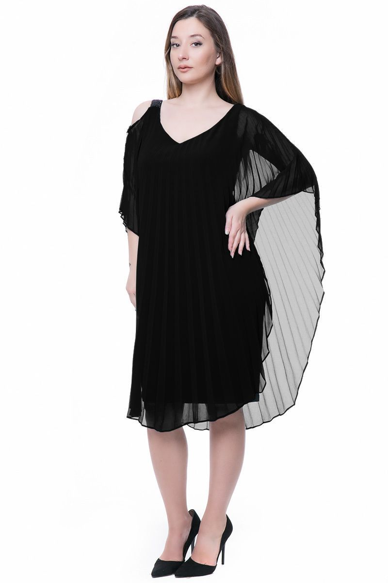 e82edec14a7d Cold shoulder πλισέ μαύρο φόρεμα με στρασάτη τιράντα xxl